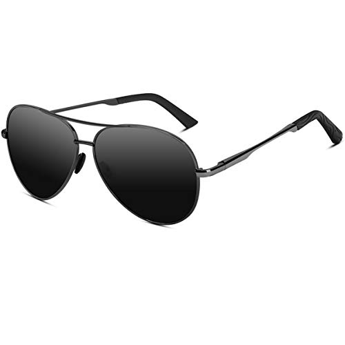 VVA Gafas de sol Hombre Polarizadas Aviador Hombres Aviador Gafas de sol Polarizadas Hombre Unisex Protección UV400 por V101 (B Negro/Gun)