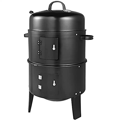 Fit4home Barrel Outdoor Charcoal BBQ Grill 3 in 1 Smoker Grill - Great For Garden, Patio, Camping or Outdoor Picnics - Small and Portable Barbecue with Thermostat   CJ0049