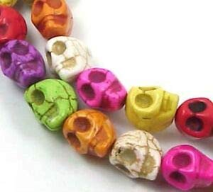 16 Small Turquoise Carved Skull Beads Halloween Spacer Beads and Roll Crystal String for Bracelets Jewelry Making