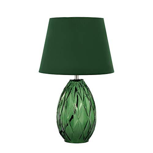 Pauleen 48156 Crystal Velvet Lampe Abat-Jour Velours Luminaire à Poser Vert Max 40W E14 230V Verre/Tissu
