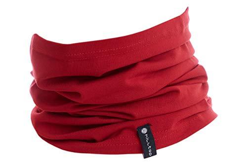 Halstuch aus Baumwolle, Multifunktionstuch, Schlauchtuch, Bandana, Geschenk für Frauen und Männer, Farbe/Design:Rot