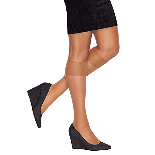 L'eggs Women's 10 Pair Everyday Reinforced Toe Knee Highs, Barely Black, One Size