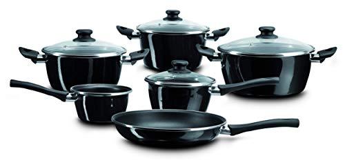 Magefesa Naccarii - Batería de Cocina 10 piezas. Material acero vitrificado exterior negro. Antiadherente bicapa, aptas para todo tipo de cocinas, especial inducción. 50% de ahorro energético.