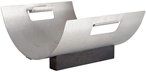 Porte bûches en acier brossé et bois design lune 42x33x18cm