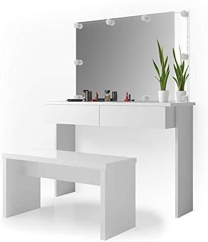 Vicco LED Schminktisch Azur Frisiertisch Kommode Weiß Hochglanz Frisierkommode Schminkkommode mit Bank Spiegel und LED Beleuchtung