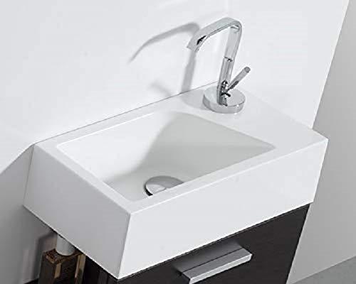 Stilform Mini Waschtisch Gäste WC Waschbecken für Wandmontage Mineralguss Links oder Rechts Handwaschbecken Klein