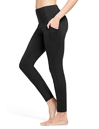 BALEAF Damen Leggings Sport Shape Blickdicht high Waist Warme Yogahose eng Fitnesshose lang mit Taschen Schwarz M