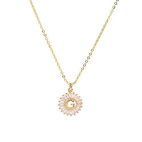NSXLSCL Halsketting voor dames, witte kubusvormige zirkonia, Engelse halsketting, hanger, goud, letter G, bedel, initiaal, ketting, sieraden, vrouwen, halsband