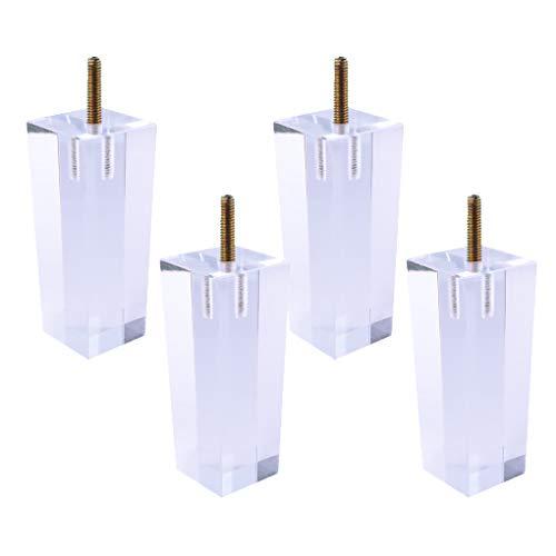 4 Stück Acryl MöbelBeine Quadrat Sofa Schrank MöbelFüße Klarglas DIY Ersatz Füße für Bücherregal Tisch Schrank Kaffee Tee Barhocker Stuhl Bein Füße(20cm)