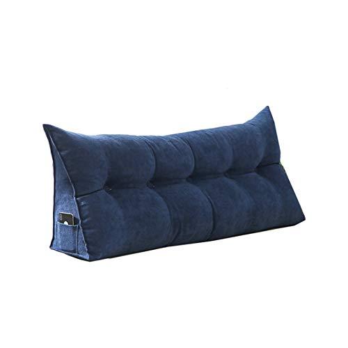 Sarah Duke Dreieckige Keil Kissen, bettsitzkissen Kissen Rückenkisse Polstermöbel, Bett-Rückenstütze Keilform, für Sofa Bett Couch Wohn und Schlafzimmer (Dunkelblau,60 X 20 X 50cm)