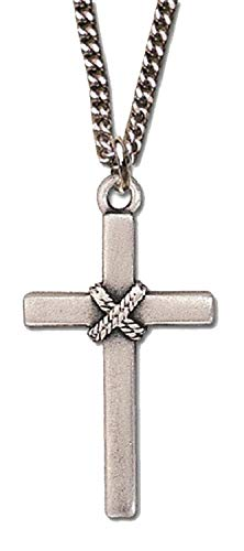 H. J. Sherman Pewter Cross Necklace with Rope Accent Hung 24' Chain in Gift Box