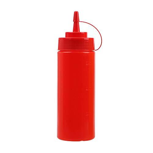 iTimo Plastic Squeeze Bottle - Dispensador de aceite de mantequilla y ketchup, salsa y condimentos (rojo, 300 g)