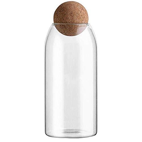Barattolo di vetro con chiusura ermetica Palla con coperchio in legno Contenitori di stoccaggio in stile tradizionale in vaso dolce Ideale per tè, caffè, dolci e altro (Transparent - Large)