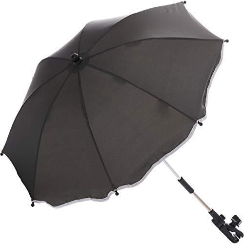 Sonnenschirm für Kinderwagen Buggy und Jogger mit UV SCHUTZ (50) Baby Kind Schirm (Grau)