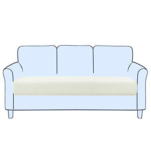 subrtex Sofa Sitzkissenbezug Stretch Sitzkissenschutz Elastischer Kissenbezüge Husse Überzug Bezug für Sofa Sitzkissen (3 Sitzer, Creme)