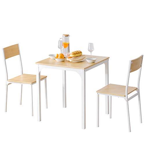 M-YN Esszimmergruppe 3-teiliges Set Mit Esstisch Und Stühlen In Moderner Gegenhöhe Holzstahlrahmen Küchen-Esstisch-Set