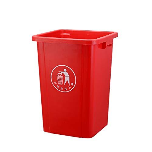 HONGYU Basurero de plástico Botes de Basura sin tapar Durante Botes de Basura industriales/Parques/Comunidades 4 tamaños (Color : Red, Size : 60L)