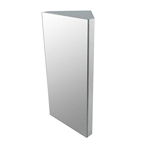 Renovators Supply Infinity Corner Wall Mount Medicine Cabinet with Mirror Brushed Stainless Steel Bathroom Storage 23.6 X 11.8 Inches Hanging Triple Shelf Storage Cabinet Opens Left to Right