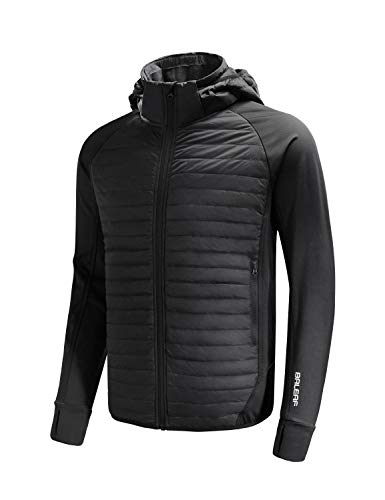 BALEAF Men's Lightweight Warm Puffer Jacket Winter Down Jacket Thermal Hybrid Hiking Coat Water Resistant Packable Black XL