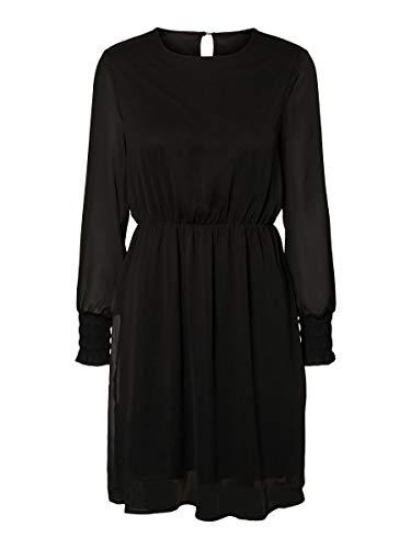 VERO MODA Damen VMSMILLA LS ABK Dress GA NOOS Kleid, Black, M