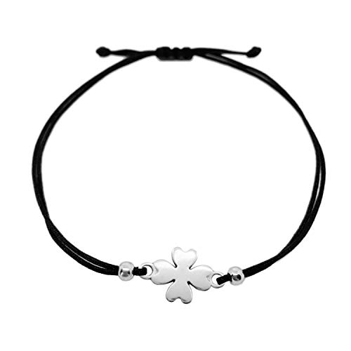 Selfmade Jewelry Four Leaf Clover Bracelet Silver Black (size adjustable) handmade handcrafted Good Luck Bracelet Fashion Jewelry Women/Girls Gift wrapped