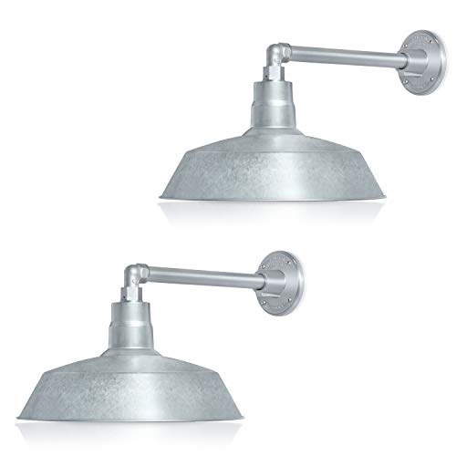 14in. Galvanized Outdoor Gooseneck Barn Light Fixture with 13in. Long Extension Arm - Wall Sconce Farmhouse, Vintage, Antique Style - UL Listed - 9W 900lm A19 LED Bulb (5000K Cool White) - 2-Pack
