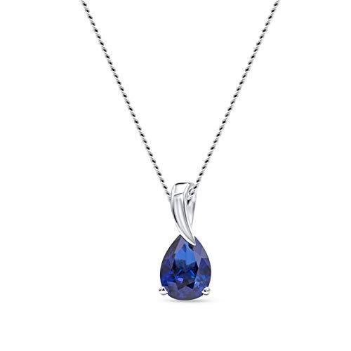 Miore collar de mujer oro blanco 9 kt 375 con zafiro azul y longitud 45 cm