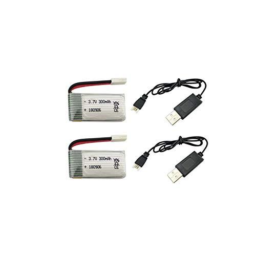 ACHICOO 2 STÜCKE 3,7 V 300 mAh Lithium-Batterie mit USB Ladekabel für H8 H22 E-achine H8 Mini Quadcopter Drone Batterie Spaßgeschenke für Kinder