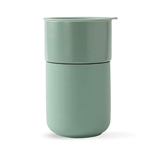 MUSESELECTION-Ceramic Coffee Travel Mug,Coffee Mug with Lid,Silicone Protective,Green 13 Oz,Reusable Portable Coffee or Tea Cup