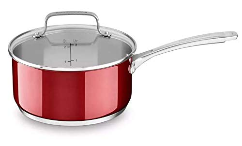 KitchenAid Oven Dishwasher Safe Stainless Steel 3.0 Quart Saucepan with Glass lid - Candy Apple Red