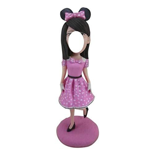 Figura de arcilla personalizada de Bobble Head personalizada de Mickey Mouse Girl basada en la foto de los clientes usando como regalo de cumpleaños de la esposa de Topper de la torta de cumpleaños