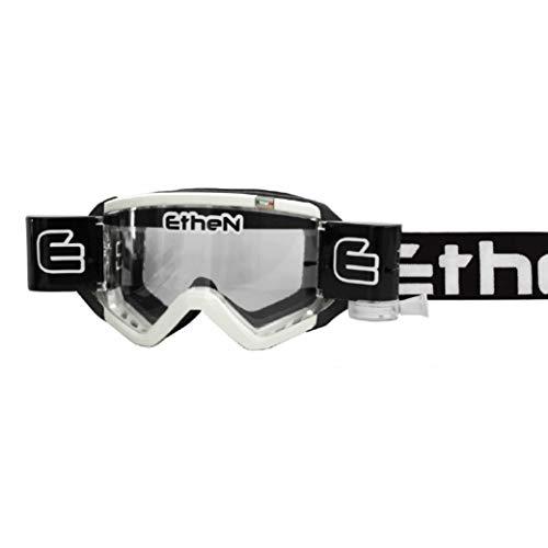 Ethen Gafas/Máscara de Ciclismo, Motocross y Enduro, con Sistema Roll Off de 40 mm, Mud Flap e Innovador Sistema de Protección Mediante Pegatinas, Antivaho, Made in Italy, Blanco/Negro