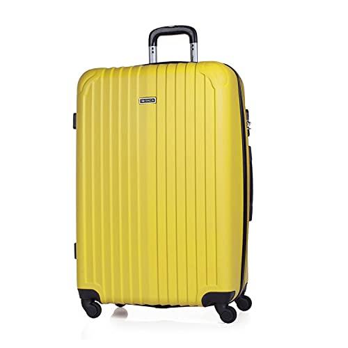 ITACA - Valigia Grande Trolley 70 cm XL di formato ABS. Rigido, resistente, robusto e super leggero. Manico telescopico, 2 maniglie retrattili e 4 ruote. Formato XL. T71570, Color Senape