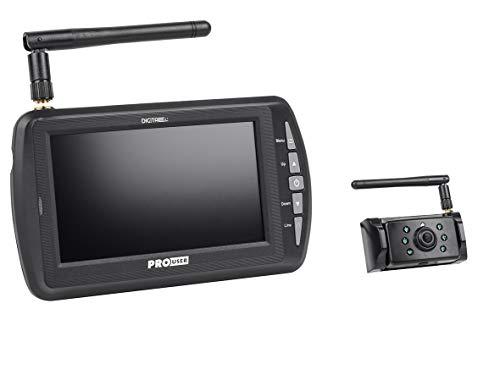 Pro-User DRC4340 20134 Digitales Funk-Rückfahrkamerasystem für 12V und 24V Systeme an Wohnwagen, Wohnmobilen, Anhängern, LKWs etc. mit externen Antennen für lange Entfernungen