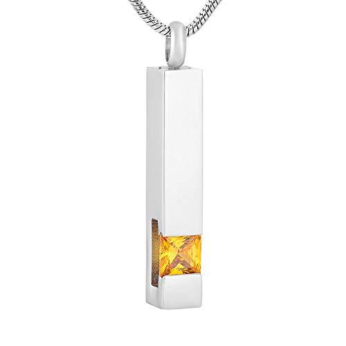 JJPRFO Cremación Jewelrylockets Collar Multicolor Piedra de Nacimiento Urna de Recuerdo Cenizas Collar conmemorativo Barra de Cristal de Acero Inoxidable Colgante Collar Joyas para Mujeres