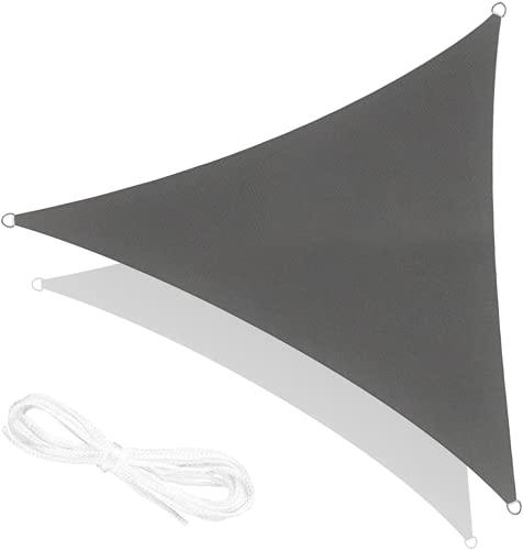 RATEL Toldo Vela de Sombra triángulo Gris 5 × 5 × 5 m, protección 95% UV y Transpirable Impermeable, para Jardín, Patio, Exteriores, Pergola Decking