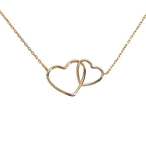 LuckyLy – Collares Finos Mujer – Collar Corazón de Mujer Emma – Dije de Corazones Entrecruzados…