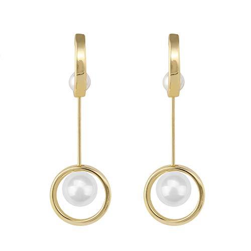 NOBRAND Pendientes De Mujer Elegantes Aretes Largos De Metal Dorado para Mujeres Y Niñas Elegantes Aretes Redondos De Perlas