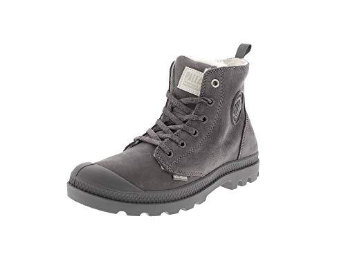 Palladium Damen Boots Pampa Hi Zip WL Leather, Cloudburst Charcoal Gray 95982 055, 39.5 EU