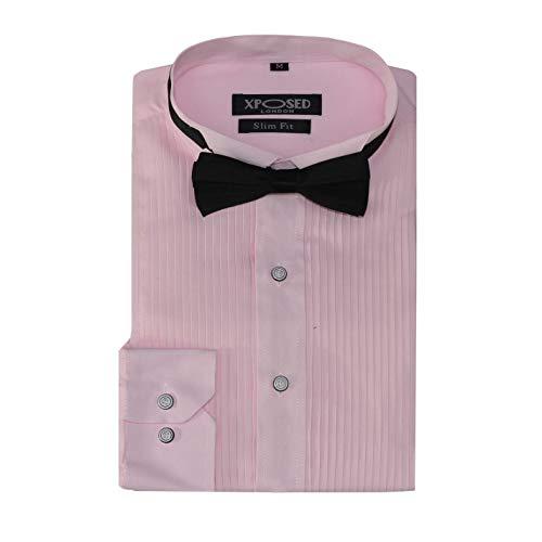 Xposed - Camisa de vestir para hombre, diseño de esmoquin con pajarita, ajuste delgado, plisado, cuello de ala delantera, boda, graduación