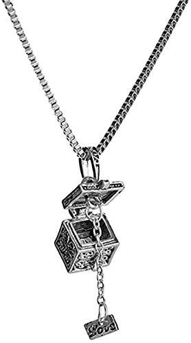 LLJHXZC Collar con Colgante De Caja Mágica Que Se Puede Abrir, Collar Antiguo Vintage, Joyería Retro, Regalo para Mujeres Y Niñas Collar Collar