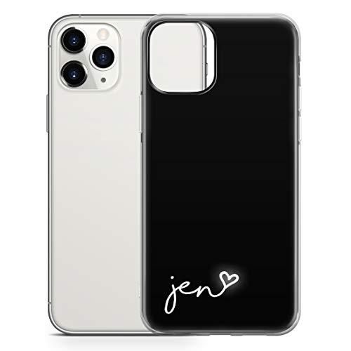 TULLUN Personalisierte Handyhülle für iPhone XS Max - Klare Hartplastik Benutzerdefinierte Name der Farbecke Buchstabe Initialen Name Text - Schwarz