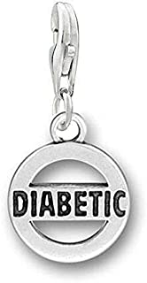 Diabetic Silver Tone Clip On Lobster Clasp Charm - Jewelry Making Supply by Charm Crazy