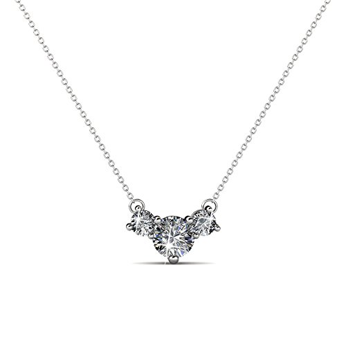 Cate & Chloe Calliope Poetic 3 Stone Pendant Necklace, Women's 18k White Gold Plated Necklace with Swarovski Crystals, Beautiful Sparkling...