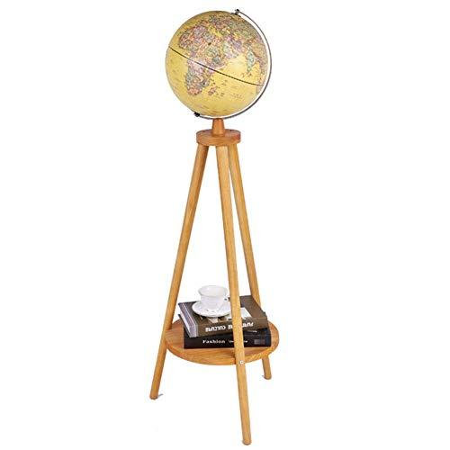 DFBGL Beleuchtete Weltkugel mit 3D-Reliefkarte mit Holzbasiskugel Erdkugellampe für pädagogische geografische Boden-Desktop-Globen der Welt mit Standdekor-Geschenk