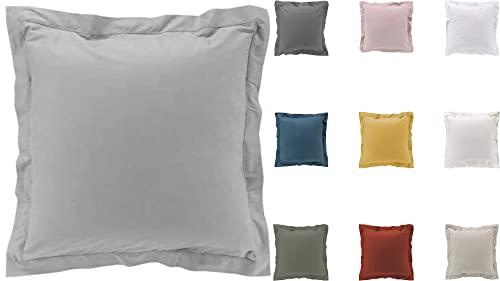 2 fundas de almohada de percal 100% algodón, 63 x 63 cm, color gris