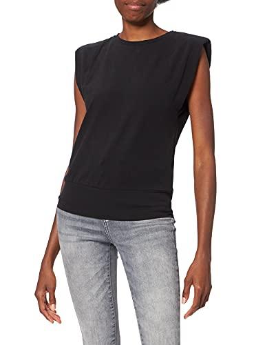 NA-KD Padded Shoulder Top Camisa, Black, S para Mujer