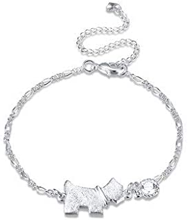 Women Jewelry Anklets - Dog Tag Shaped Foot Chain Silver Plated Rhinestone Anklet Jewelry - Silver