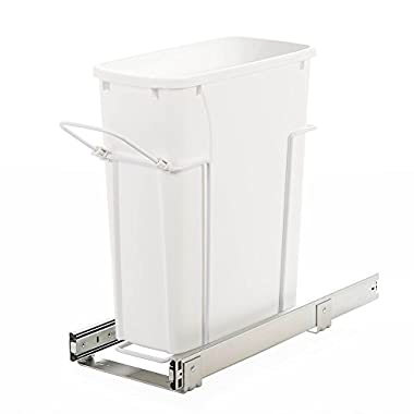 Knape & Vogt SBM9-1-20WH In-Cabinet Bottom Mount Pull Out Trash Can, 17.31  by 7.98  by 20