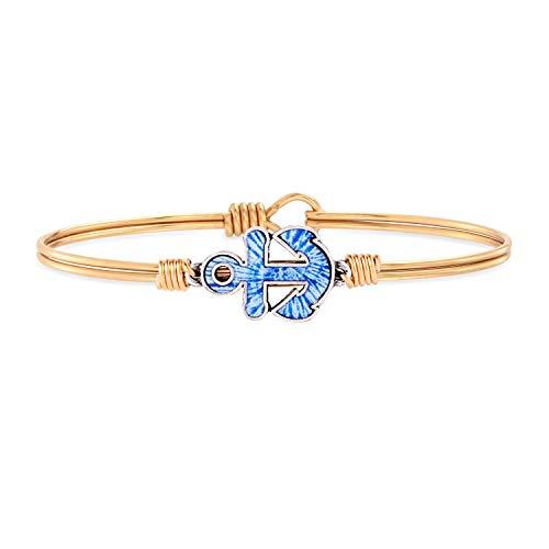Luca + Danni Anchor Tie Dye Bangle Bracelet For Women - Brass Tone Regular Size Made in USA